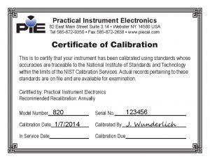 Pie 820 calibration certificate sample piecal pie 820 calibration certificate sample yadclub Images