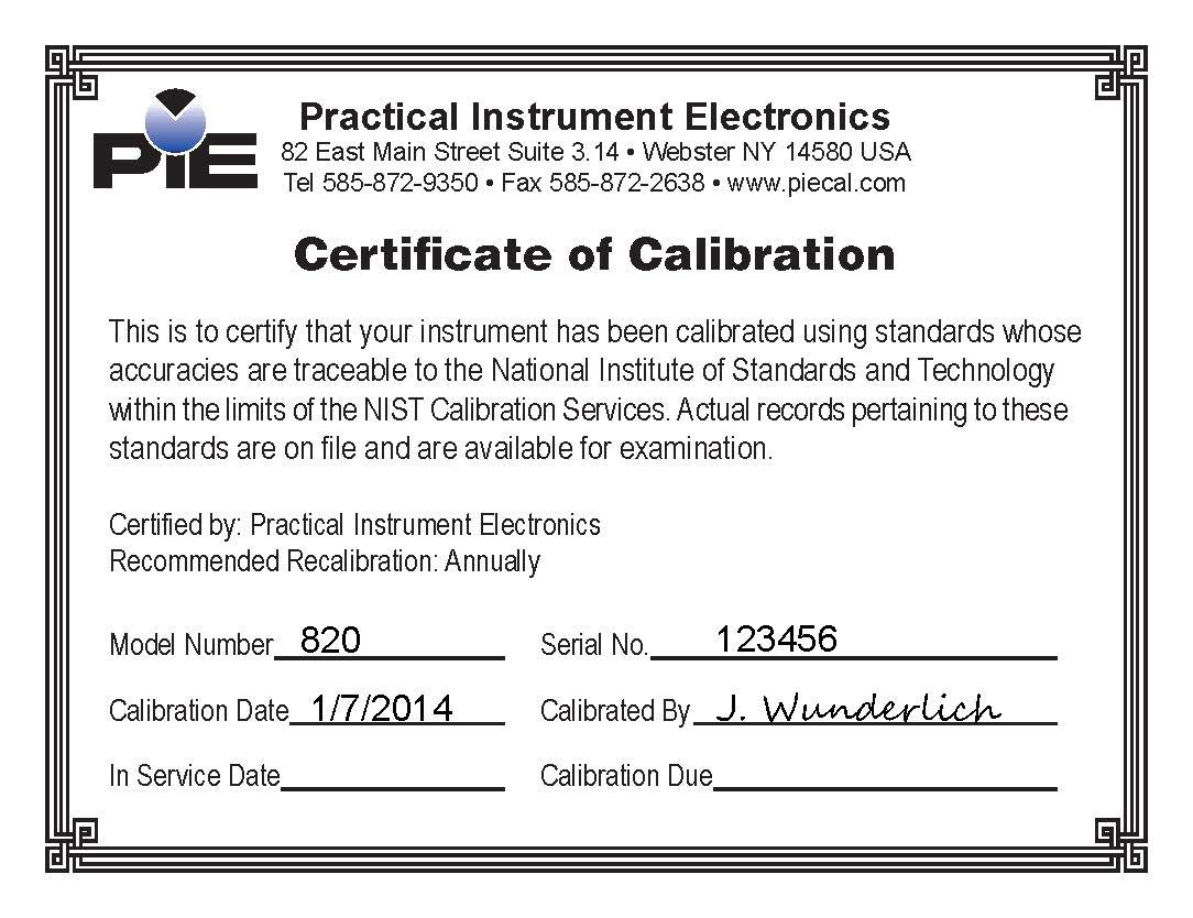 Pie 820 calibration certificate sampleg pie 820 calibration certificate sample yadclub Choice Image