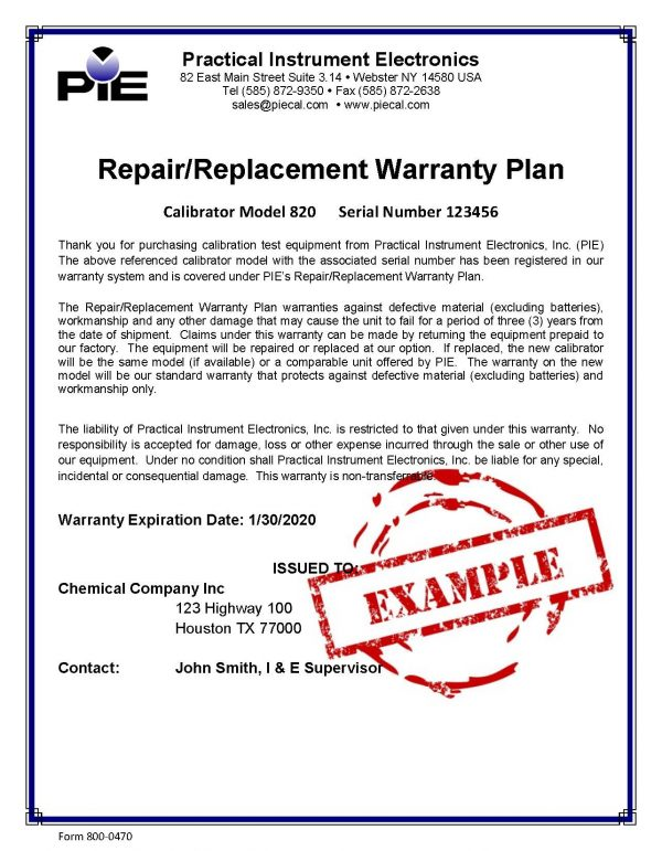 PIE Repair Replacement Warranty