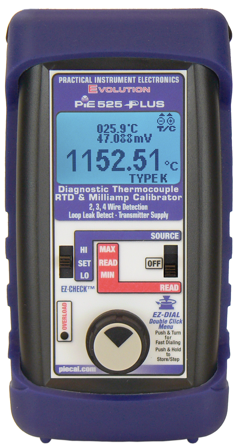 525Plus reading thermocouple & displaying table mV and cold junction temperature